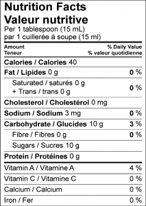 Carrot Cake Nutrient Lable